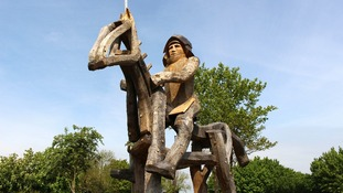 Two giant oak statues of horses handed to Tewkesbury