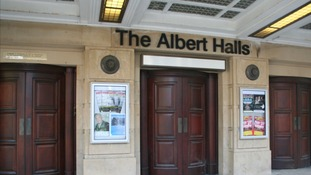 Front doors of the Albert Halls theatre