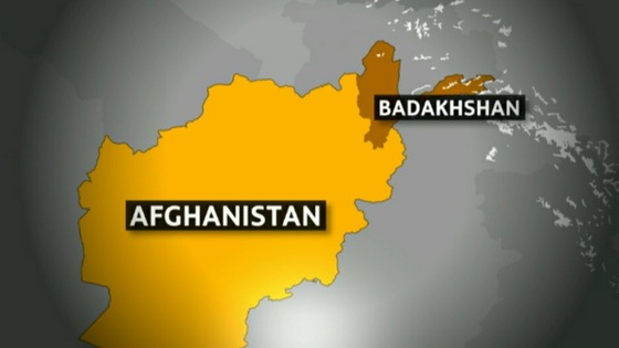 A map showing the location of Badakhshan province.
