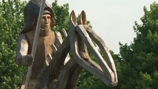 The giant oak statues cost £70,000