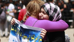 Emotional relatives of people who died during Egypt's revolution
