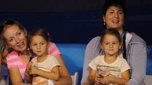 Roger Federer's wife Mirka Vavrinec (right) with their twin daughters Myla and Charlene.