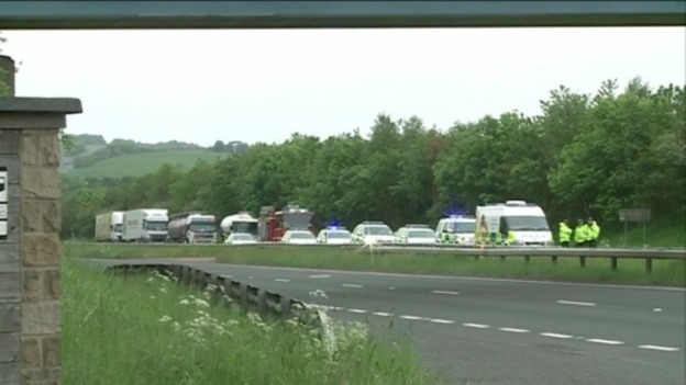 Queues after A69 crash