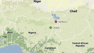 Gamburu is shown on the map along with Chibok, where hundreds of schoolgirls were kidnapped.