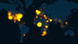 A data map shows a huge spike in global tweets about the kidnapping this week.