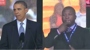 Thamsanqa Jantjie's now-infamous appearance at Nelson Mandela's Memorial Service with President Barack Obama.