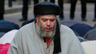 Islamist cleric Abu Hamza pictured outside the North London Central Mosque in 2003.