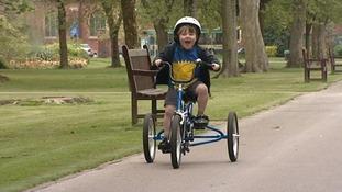 Cardiff schoolboy Seth Burke defies medics by learning to ride a bike