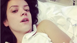 Singer Lily Allen posted this picture of herself in a hospital bed.
