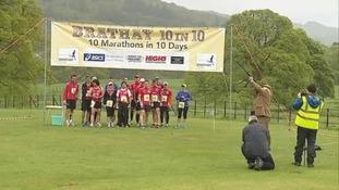 Runners endure the first of ten marathons