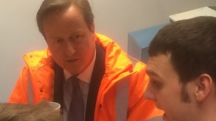 David Cameron at a sugar factory in Newark