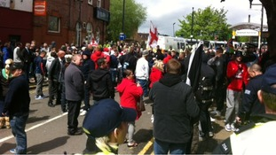 EDL marchers gathering in Rotherham
