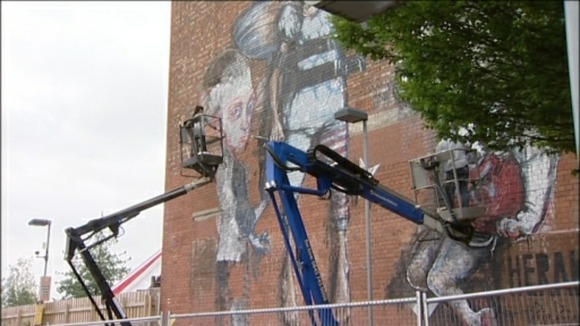 graffiti artists painting Tobacco Factory