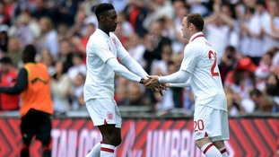 Goal scorer Danny Welbeck is replaced by Wayne Rooney, who is banned for the  first two group games.
