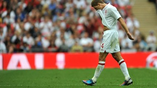 Captain Steven Gerrard left the field in the second half.