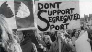 Anti Apartheid demonstration. Banner which reads 'Don't Support Segregated Sport'