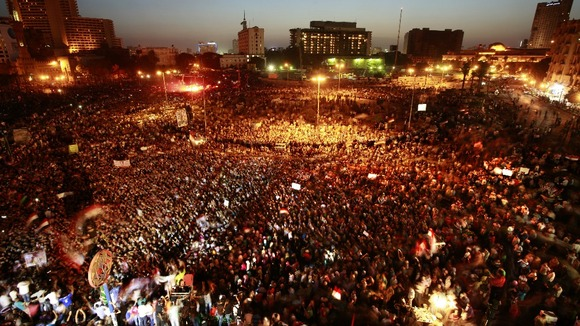 Up to 10,000 people gathered in Cairo's Tahrir Square, the scene of last year's uprising which led to Mubarak's removal from office.