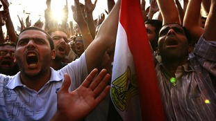 Egyptians gathered at Tahrir Square in the nation's capital, Cairo.
