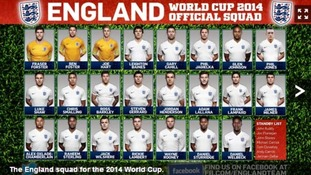 England manager Roy Hodgson announces 23-man World Cup squad