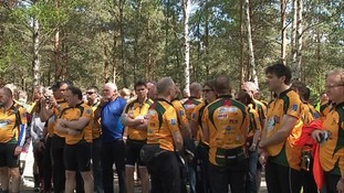 The cycle ride was arranged as a tribute to the 18 members of the club killed in a plane crash in France 40 years ago.