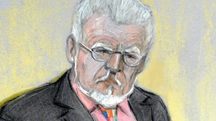 A court sketch of Rolf Harris