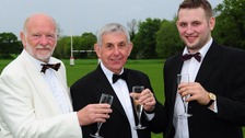 Sir Ian with Peter Barry, club president, left, and Josh Wright, First team captain