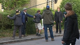 The actors are in the village to film scenes for ITV's 'Grantchester'.