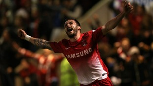 Chris Dagnall celebrates scoring what turned out to be the winning goal.