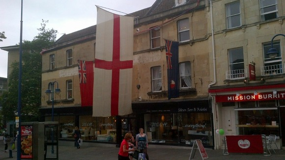 flag at Bath furniture store