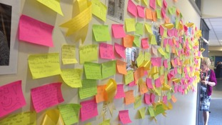 The wall of remembrance at Chase Terrace Technology Colleg
