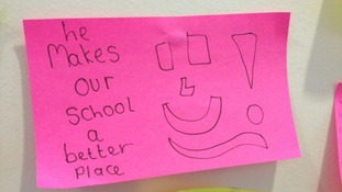 One person uses a smiley face to say, 'He makes our school a better place'.