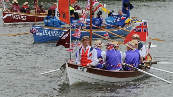 Row boats will be at the front of the River Pageant