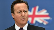 File photo of David Cameron with Union flag behind him.