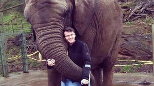 Stephen Sutton with an elephant.