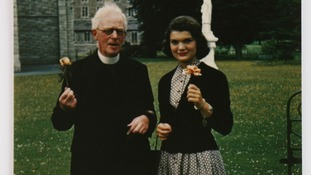 Jackie Kennedy with Rev. Joseph Leonard in 1950
