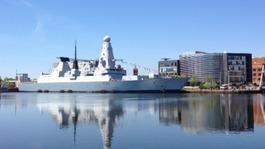 Royal Navy warship HMS Dragon in Cardiff
