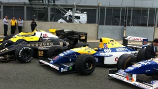 F1 cars line up at Silverstone