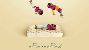 Cartoon images of Malala Yousafzai in the mattress ad campaign.