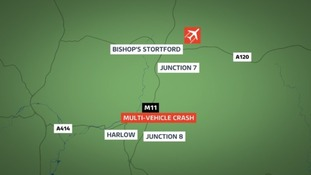 The scene of the crash on the M11 northbound