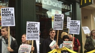 Demonstrators in London calling for an end to zero-hours contracts.