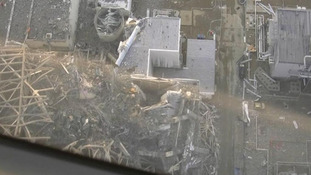 An aerial view showing damage sustained at the Fukushima Daiichi nuclear power complex