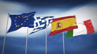 European flags including Greece, Spain and Italy.