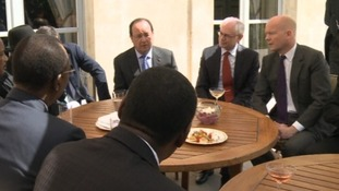 President Hollande with West African leaders and British Foreign Secretary William Hague in Paris today.