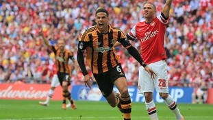 Hull City's Curtis Davies celebrates scoring his side's second goal during the FA Cup Final at Wembley Stadium