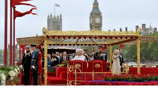 Queen Elizabeth II and Duke of Edinburgh onboard the Spirit of Chartwell during the Diamond Jubilee Pageant