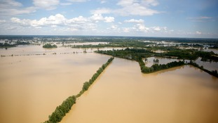 An aerial view of the flooded city of Orasje in Bosnia, which has also been affected by heavy flooding