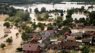 An aerial view of the flooded city of Orasje in Bosnia