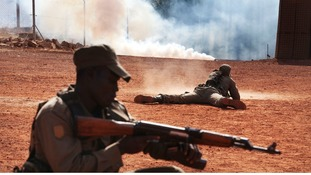 Malian soldiers train for an ambush at the EU training mission headquarters in Koulikoro in February
