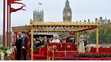 Queen Elizabeth II and Duke of Edinburgh onboard the Spirit of Chartwell during the Diamond Jubilee Pageant.