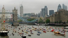 wide shot of the Thames Pageant